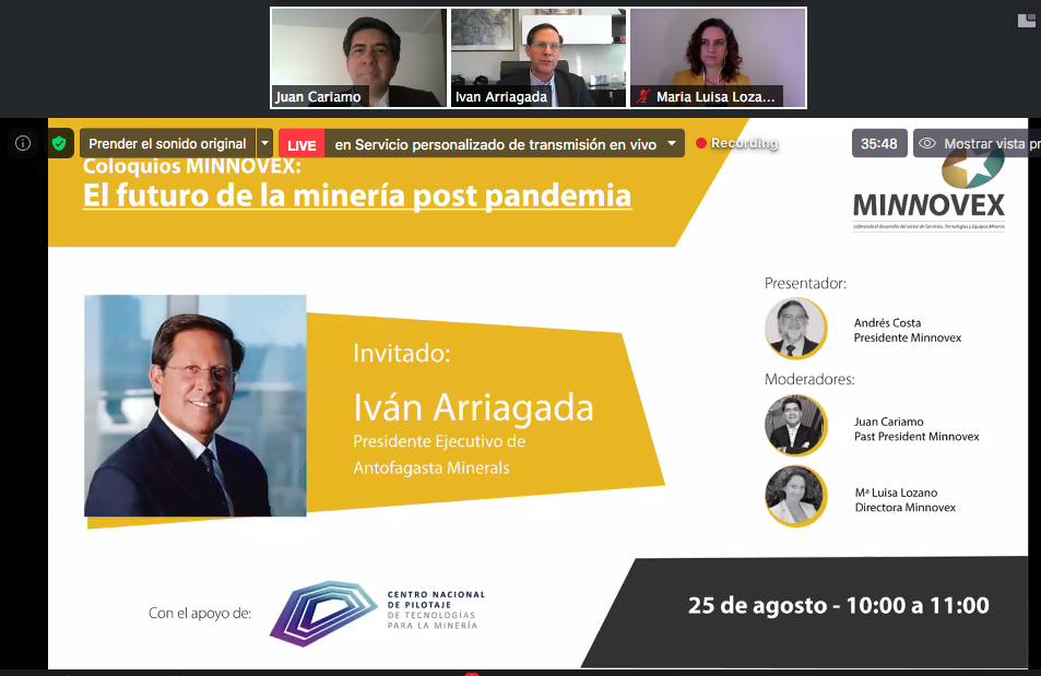 Iván Arriagada, CEO de AMSA, en el evento online Coloquios Minnovex: el futuro de la minería post pandemia